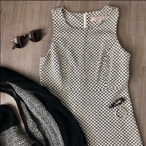 LOFT Black Cream Chevron Dress